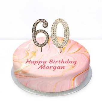 60th Birthday Pink Marble Cake