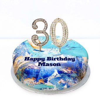 30th Birthday Blue Marble Cake