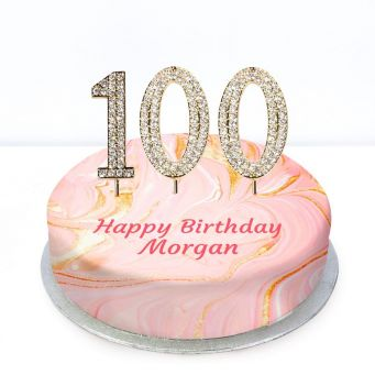100th Birthday Pink Marble Cake