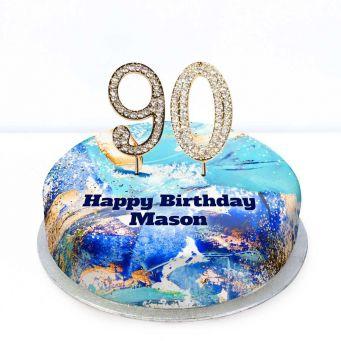 90th Birthday Blue Marble Cake