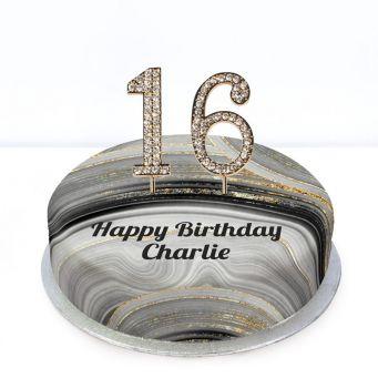 16th Birthday Black Marble Cake