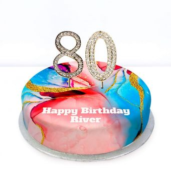 80th Birthday Red Marble Cake