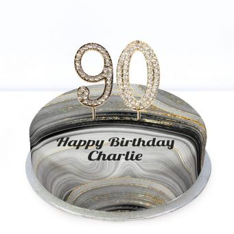 90th Birthday Black Marble Cake