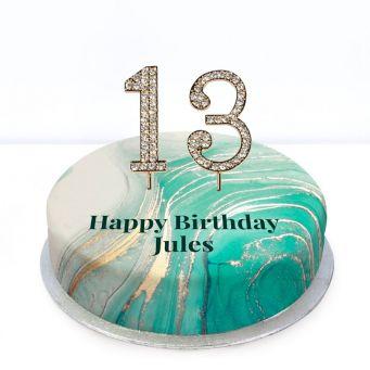 13th Birthday Green Marble Cake