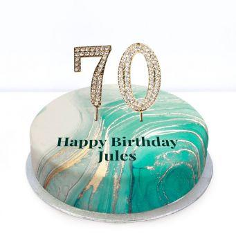 70th Birthday Green Marble Cake