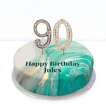 90th Birthday Green Marble Cake