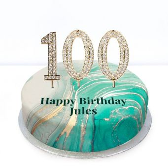 100th Birthday Green Marble Cake
