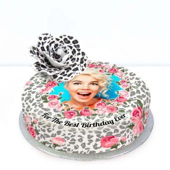 Leopard Print Flower Cake
