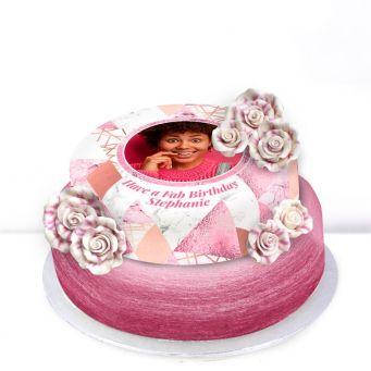 Tiered Pink Photo Rose Cake