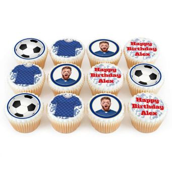 12 Chelsea Themed Cupcakes