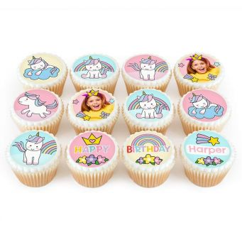 12 Unicorn Rainbow Cupcakes