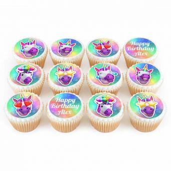 12 Unicorn Emoji Cupcakes