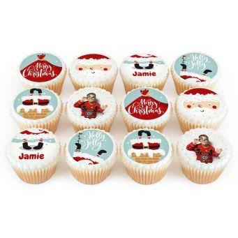 12 Santa Photo Cupcakes