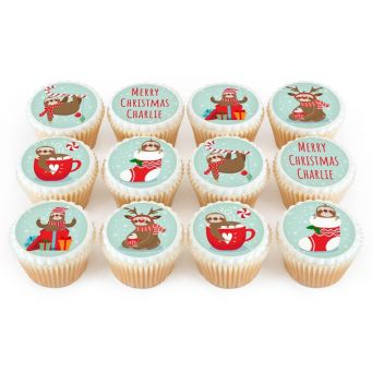 12 Christmas Sloth Cupcakes