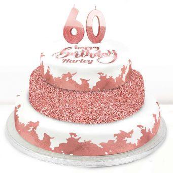 60th Birthday Rose Foil Cake