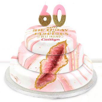 60th Birthday Pink Foil Cake