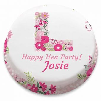 Floral L Plate Cake
