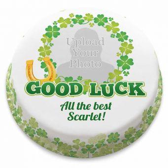 Good Luck Clover Photo Cake