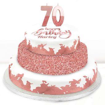 70th Birthday Rose Foil Cake