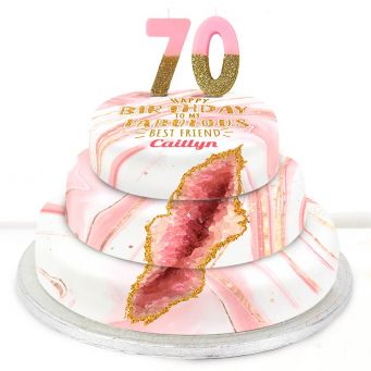 70th Birthday Pink Foil Cake