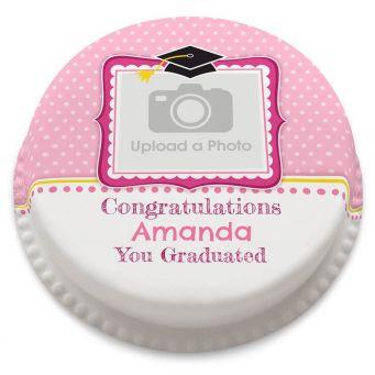 Pink Graduation Photo Cake
