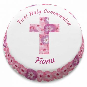 Pink Floral Communion Cake