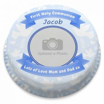 Blue Holy Communion Photo Cake