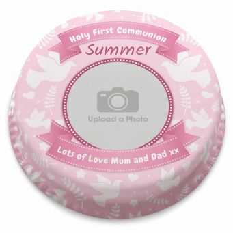 Pink Holy Communion Photo Cake