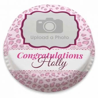 Pink Leopard Photo Cake