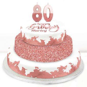 80th Birthday Rose Foil Cake