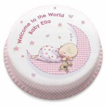 Baby Girl Moon Cake