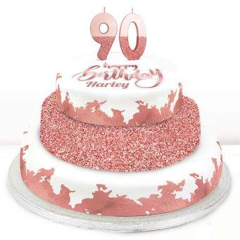 90th Birthday Rose Foil Cake