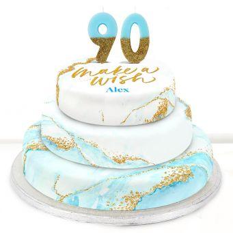 90th Birthday Blue Foil Cake