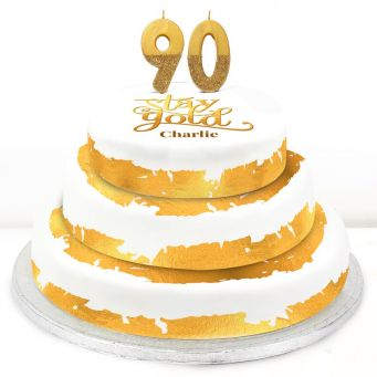 90th Birthday Gold Foil Cake