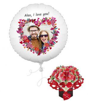 Floral Heart Photo Balloon