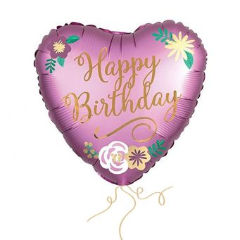 Floral Heart Birthday Balloon