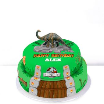 Green T-rex Tiered Cake