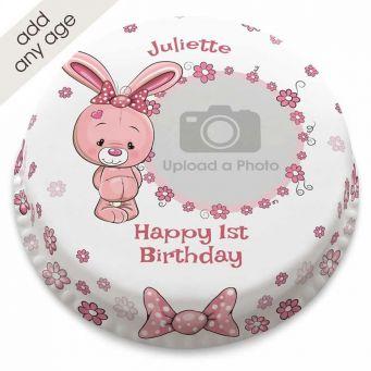Pink Bunny Photo Cake