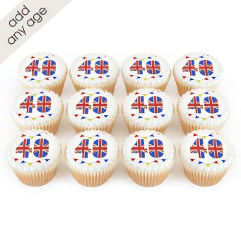 12 Union Jack Number Cupcakes