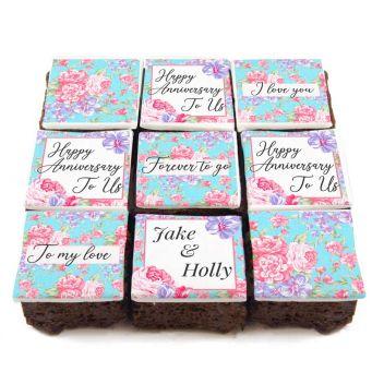 Floral Anniversary Brownies