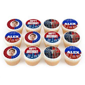 12 Spiderman Photo Cupcakes