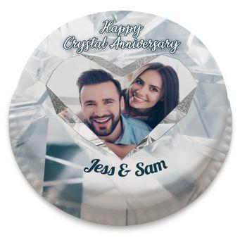 Crystal Anniversary Heart Cake