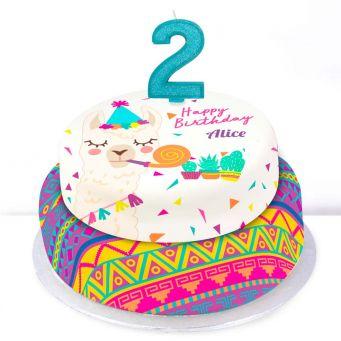 2nd Birthday Party Llama Cake