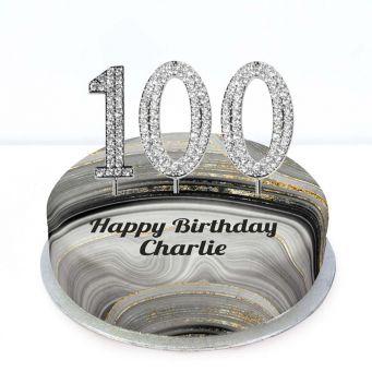 100th Birthday Black Marble Cake