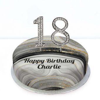 18th Birthday Black Marble Cake