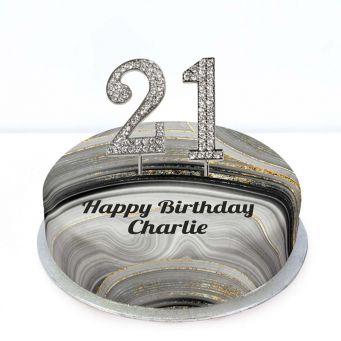 21st Birthday Black Marble Cake