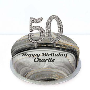 50th Birthday Black Marble Cake