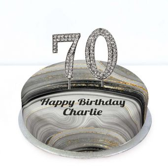 70th Birthday Black Marble Cake