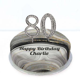 80th Birthday Black Marble Cake