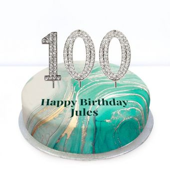 100th Birthday Green Marble Cake
